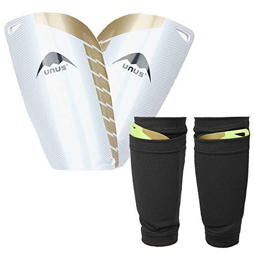 Northdeer Kinder Schienbeinschoner Fußball mit Stutzen Socken - inkl. Strümpfe Schienbeinschonerhalter - Schienbeinschützer zum Einschieben (Weiß)