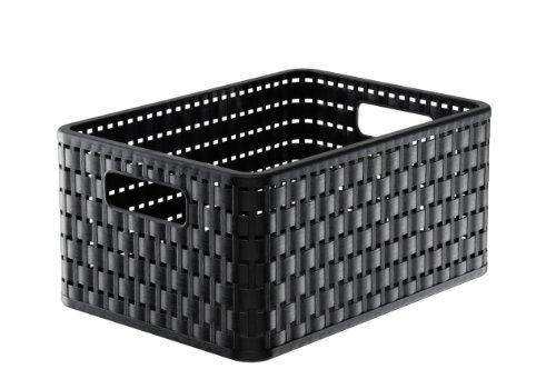 Rotho 1116908080 Aufbewahrungskiste Dekobox Country in Rattan-Optik aus Kunststoff (PP), Format A5+, Inhalt ca. 11 l, ca. 32.8 x 23.8 x 16 cm (LxBxH), schwarz