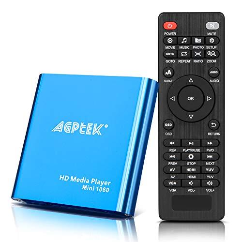 AGPtek Mini 1080P Full HD Digital Mediaplayer Medienspieler Medienspieler mit Fernbedienung für MP3, WMA, OGG, AAC, FLAC, APE, AC3, DTS, ATRA - Unterstützt HDMI CVBS & YPbPr Videoausgang - jede Datei von USB Festplatten Flashdrives Speicherkarten abzuspielen(Schwarz/Blau) (-HA0053)