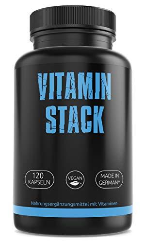 GYM-NUTRITION — Vitamin Stack Vitamin-Komplex – Vitamin-Tabletten – Multivitamin-Kapseln – kombiniertes Vitamin-Präparat — vegan, hochdosiert, Made in Germany — 120 Kapseln, für 4 Monate
