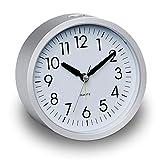 DreamSky Analog Quarzwecker, Schönes Design Wecker mit Nachtlicht, 4 Zoll großes Zifferblatt, Snooze, Lauter ansteigender Alarm, Kein Ticken, Geräuschlos, Batteriebetrieben Tischuhr (Silber)