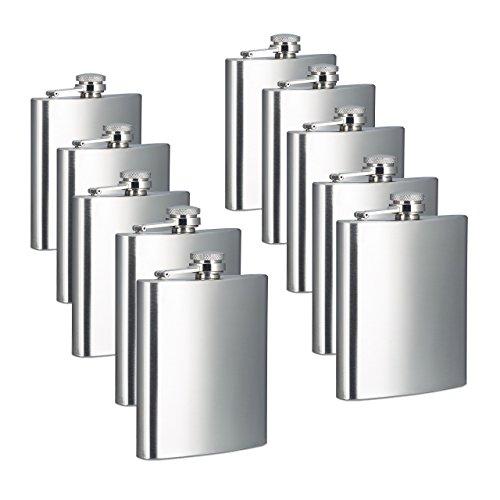 Relaxdays 10x Flachmann, 200 ml Füllmenge, 7 oz Volumen, Taschenflachmann, Schraubverschluss, Edelstahl, Silber, HBT 12 x 9 x 2 cm
