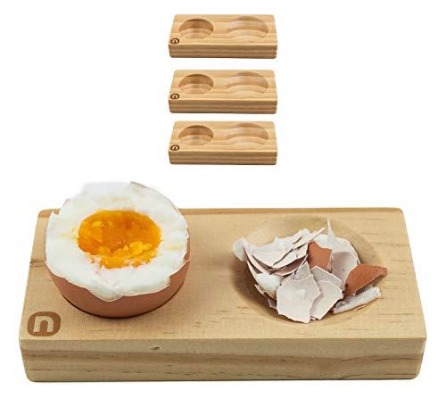 naturlik Eierbecher 4er Set aus hochwertigem Holz (Kiefer) | Praktisch: Nie mehr Eierschalenreste auf Teller oder Tisch | Modernes, einzigartiges Design | Perfekt für jeden Frühstückstisch
