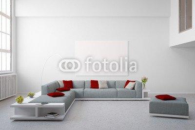 Alu-Dibond-Bild 110 x 70 cm: 'Sitzecke im Wohnzimmer im Loft', Bild auf Alu-Dibond