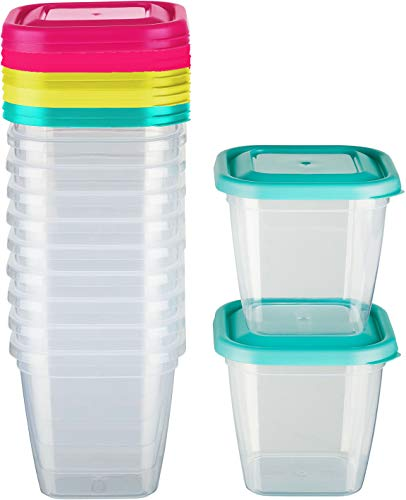 Kigima Tiefkühldose Frischhaltedose 550ml quadratisch 12er Set bunt in zufälligen Farben