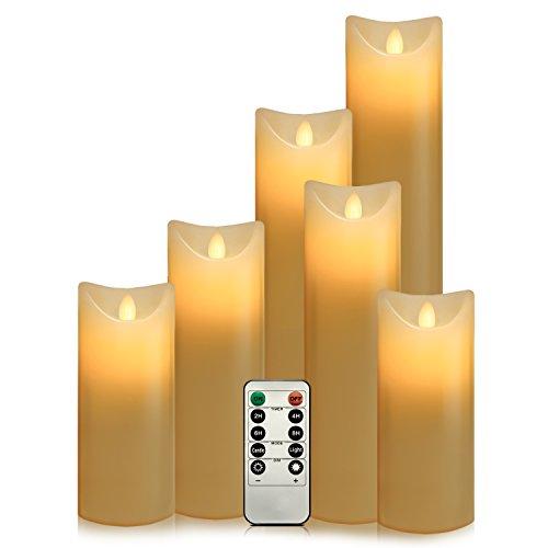 Air Zuker 6er LED Flammenlose Kerzen batteriebetriebene Kerzen Säule Echtwachskerzen mit Timer und 10 Tasten Fernbedienung, für Dekorations zB. Party, Hochzeit, Tisch