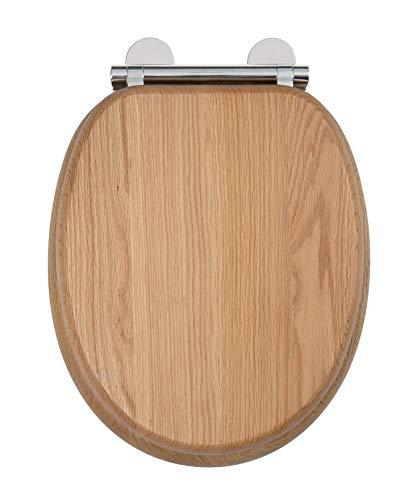 Croydex Flexi-Fix Rutland Immer passt nie gleitet langsam schließender WC-Sitz, Eiche, 44,5x 36,5x 6cm