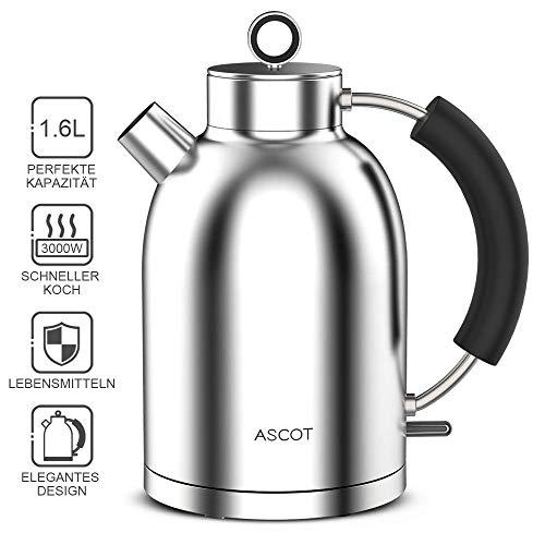 Wasserkocher Edelstahl ASCOT BPA frei Retro 1.6L 3000W Kettle Teekocher, Lebensmittelqualität Material Schneller Heizung Wasserkessel,Trockengehschutz automatische Abschaltung