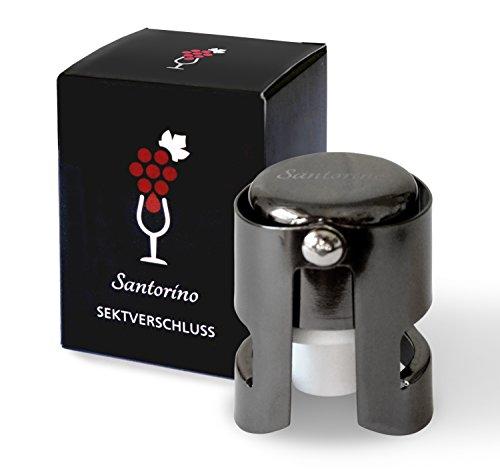 Santorino Sektverschluss – Premium Sekt- und Champagnerverschluss aus dunklem Edelstahl – Exklusiv für Sekt und Champagner Flaschen …