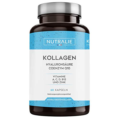 Kollagen + Hylauronsäure + Coenzym Q10 + Vitamine A, C, D und B12 + Zink | Für die Gelenke und für die Haut | Kollagen Hydrolysat in 60 Kapseln | Nutralie