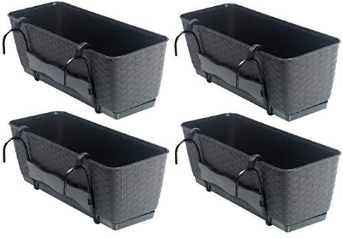 Set aus 4 Balkon Pflanzkästen mit Metallhalterung. Aus Kunststoff im Rattan Design in Anthrazit. Maße jeweils 50 x 17 x 17 cm. Preiswert