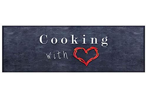 HOMEFACTO:RI Küchenläufer Küchenteppich Teppichläufer Cooking with Love | waschbar, Größe:ca. 60 x 180 cm