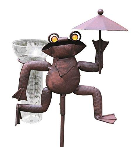 Artecsis Regenmesser Frosch aus Metall für Garten, Balkon, Terrasse, Niederschlagsmesser, Glas mit Skala, Gartenstecker 115cm
