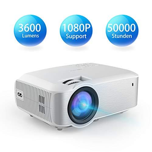 Video Beamer, TOPVISION 1080P 3600 Lumen 200'' Voll HD LED Beamer 2019 Aktualisiert, 50.000 Stunden Heimkino Projektor für Indoor/Outdoor, kompatibel mit Fire TV Stick, PS4, HDMI, VGA, AV und USB