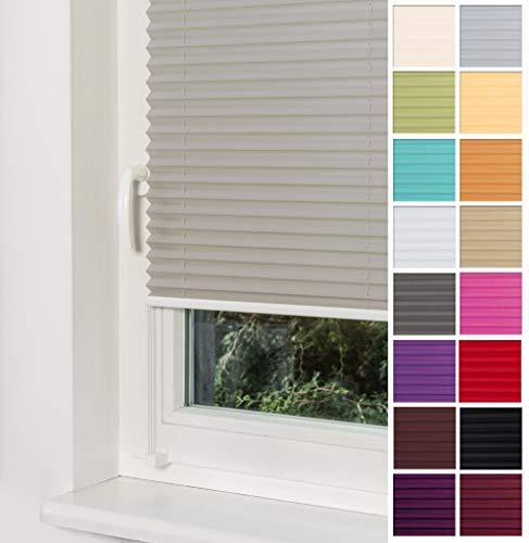 Home-Vision Premium Plissee Faltrollo ohne Bohren mit Klemmträger / -fix (Grau, B70cm x H120cm) Blickdicht Sonnenschutz Jalousie für Fenster & Tür