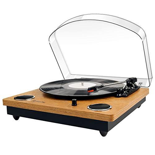 Popsky Plattenspieler, Vinyl-Plattenspieler Schallplattenspieler mit DREI Drehzahlen und Eingebauten Stereo-Lautsprechern, Vinyl-to-MP3 Funktion, USB, Cinch-Ausgang, Naturholz