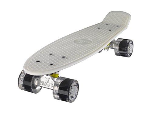 Ridge Skateboards Glow in the Dark Mini Cruiser Board Skateboard, komplett, 55cm,white/clear