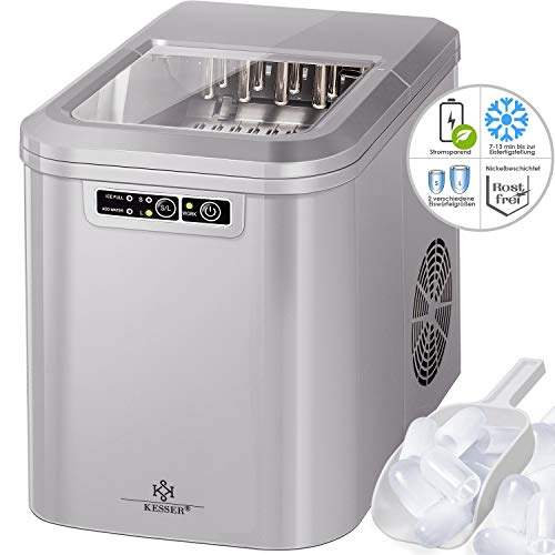 Kesser Eiswürfelbereiter | Eiswürfelmaschine Edelstahl | Ice Maker | 12 kg 24 h | Zubereitung in 7 min | 2,2 Liter Wassertank | 2 Eiswürfel-Größen | LED-Display | Selbstreinigungsfunktion | Silber