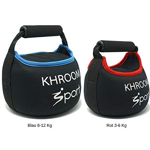 Khroom Sport weiche Kettlebell - perfekt für Dein Hometraining - gefüllt Mir Quarzsand -mit Gratis Trainingsplan. (8 Kg)