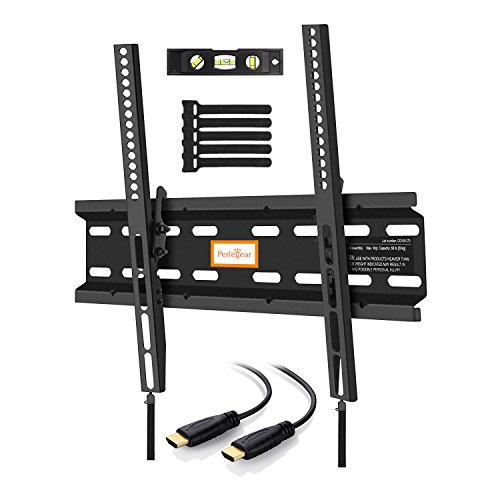 Perlegear Wandhalterung TV Neigbar, Fernsehhalterung 4K LED LCD OLED Flachbildfernseher, 58-140cm 23-55 Zoll VESA 75x75-400x400mm Neigbar Fernseh Wandhalterungen Schwarz, 1.8m HDMI Kabel Wasserwaage