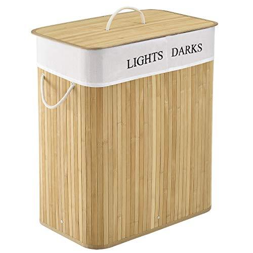 Juskys Bambus Wäschekorb Curly 100 Liter | Natur | Polyester Wäschesack, Deckel Tragegriffe | Wäschesammler Wäschetruhe Wäschebehälter
