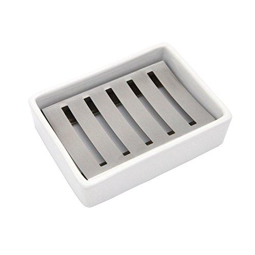 LOFEKEA doppelschichtige Seifenschale aus Edelstahl und Keramik für Bad und Dusche
