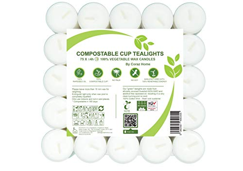 Compostable Cup Tea Lights Vegetable Wax Rapeseed Wax Tealights 4 Hours Burning Time Pack of 75 Candles Friendly to The Environment Unscented
