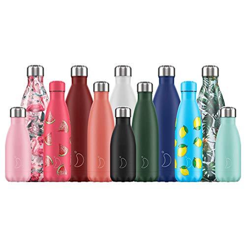 Chillys Flaschen - Wasserdicht, ohne leckage - Edelstahl ohne BPA - Wiederverwendbare Wasserflasche - Doppelte Vakuumwand - Hält kalte Getränke für mehr als 24 Stunden, heiße Getränke für 12 Stunden