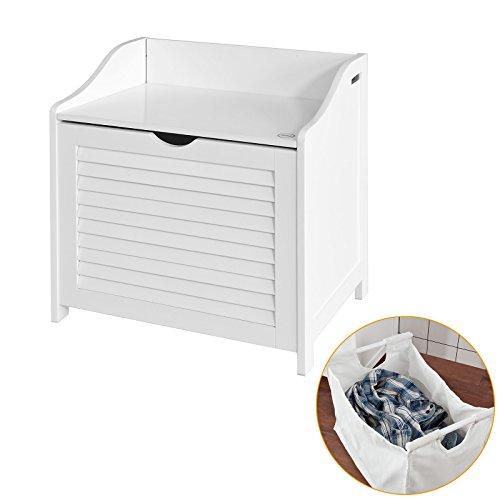 SoBuy FSR40-W Wäschetruhe Wäschebank Wäschekorb in weiß Wäschesammler mit Deckel und herausnehmbarem Wäschesack, BHT ca: 50x53x35cm