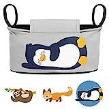 Glückswolke Kinderwagen Organizer - Pia Pinguin I Kinderwagentasche verschließbar I Kinder Buggy Tasche mit Feuchttücherspender I Baby Stroller Bag Grau I Aufbewahrungstasche