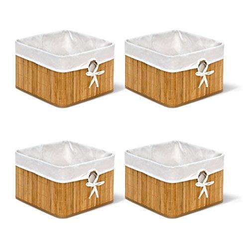 4x Aufbewahrungskorb natur im Set, aus Bambus, faltbarer Regalkorb mit Stoffbezug, mit rundem Eingriff