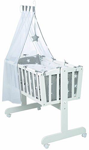 roba Komplettwiegenset, Babywiege 'Little Stars' (40x90cm), Holz weiß, Stubenwagen & Wiege mit Feststellfunktion, Wiegenset inkl, kompletter Ausstattung & Baby Bettwäsche (80x80cm)