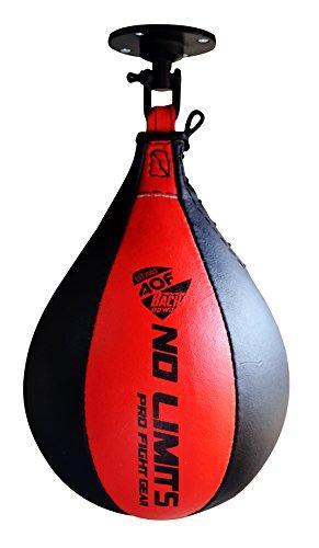 AQF Punchingball aus Leder mit Drehgelenk und Aufhängung, mehrfarbig, schwarz / rot