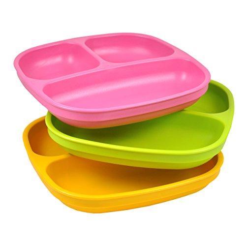 Re-Play, Kinderteller unterteilt Set, 3 Stück | BPA-frei | Stabiles Kindergeschirr | nachhaltig durch Recyclingmaterial | (Pink)