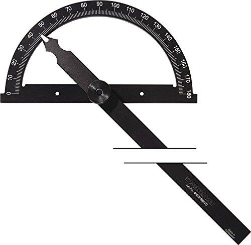 PROMAT 858560 Winkelmesser L.120mm 0-180Grad Gradbogen-D.80mm Skala mattchrom