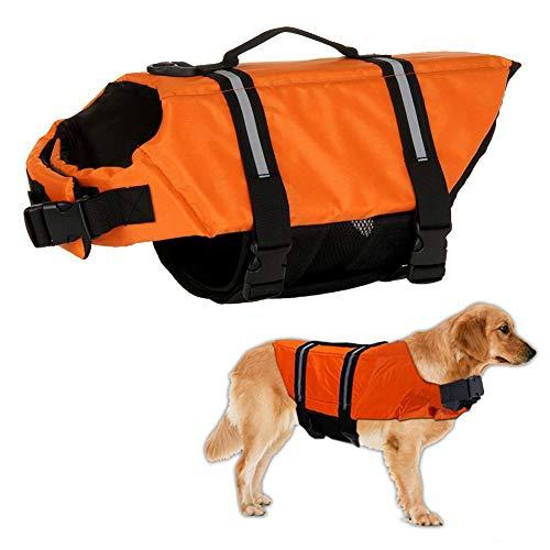 Warmiehomy Hundeschwimmweste Schwimmweste für Hund Reflektierend Rettungswesten Schwimmtraining für Hunde/Haustiere Sommer Badebekleidung für Haustiere, Orange, XL