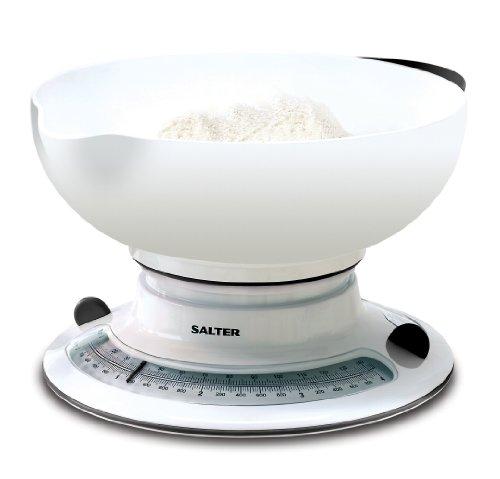 Salter Küchenwaage mit Zuwiegefunktion - Rotierende, analoge Messscheibe, Aqua Weigh für Flüssigkeiten, Große Schüssel mit Ausguß inklusive, Gummi Handgriffe, Bis zu 4kg/4l, 15 Jahre Garantie