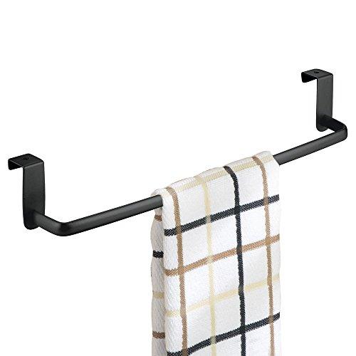 mDesign Geschirrtuchhalter Küchenschrank - Länge: 37 cm, Farbe: Mattschwarz - Geschirrhandtuchhalter - Handtuchhalter Küche