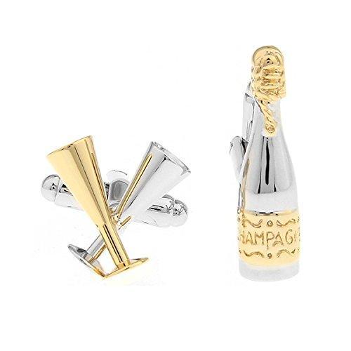 PriMI Fashion Champagner Flasche Sherry-Glas Form Herren Manschettenknöpfe