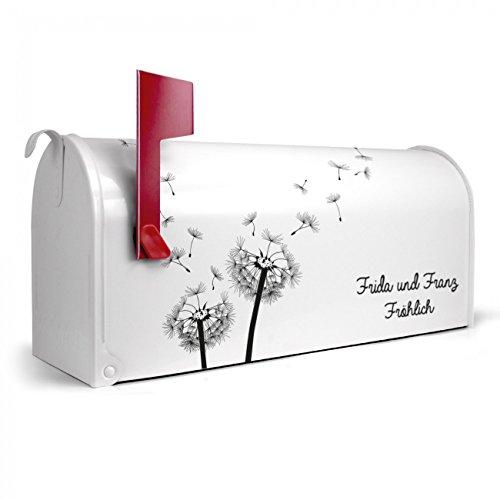 BANJADO US Mailbox   Amerikanischer Briefkasten 51x22x17cm   Letterbox Stahl weiß   mit Motiv WT Pusteblume 2, Briefkasten:ohne Standfuß