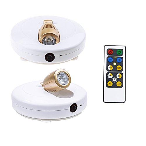 HONWELL Spot Lampe LED 2 Stück Wireless Deckenstrahler mit Fernbedienung Puck Licht Leselampe AA Batteriebetrieben Nachtlicht mit Drehbar Licht Kopf-110lm