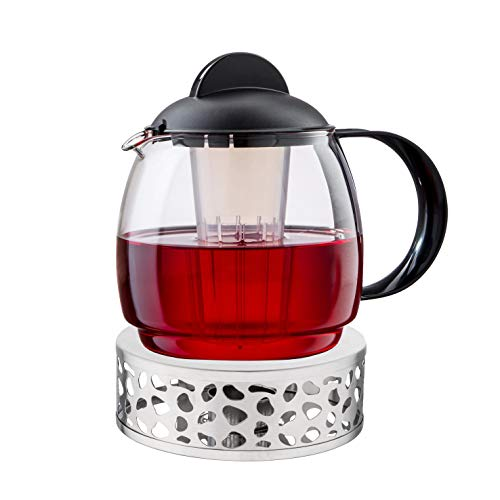 Boral Teekanne mit Stövchen Set Aura 1,8 l Teekanne aus Glas mit Siebeinsatz und Teewärmer aus Edelstahl Ø 15 cm