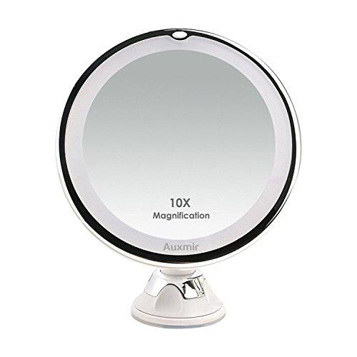 Kosmetikspiegel LED Beleuchtet mit 10x Vergrößerung und Saugnapf, 360° Schwenkbar, Make-Up-Spiegel Auxmir Schminkspiegel mit Blendfreier Beleuchtung für Zuhause und Unterwegs