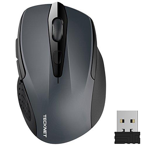 Kabellose Maus, TeckNet Pro 2.4G 2600 DPI Wireless Maus 6 Tasten mit Nano Empfänger, 24 Monate Batterielaufzeit, 5 Einstellbare DPI-Pegel für PC Laptop iMac Macbook Microsoft Pro, Office Home