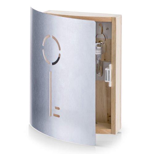 Zeller 13846 Schlüsselkasten Schlüssel, Gummibaum/Edelstahl, ca. 21,5 x 5,5 x 24,5 cm