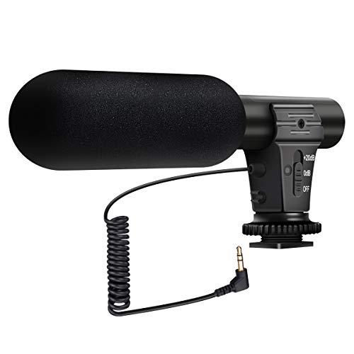 (Aktualisierte Version) EIVOTOR Video Mikrofon Stereo Richtrohrmikrofon Camcorder Mikrofone Kamera Mikrofon Video Mic Interview Mikrofon für DSLR Nikon Canon DV Camcorder Kamera mit 3,5mm Mic-Buchse