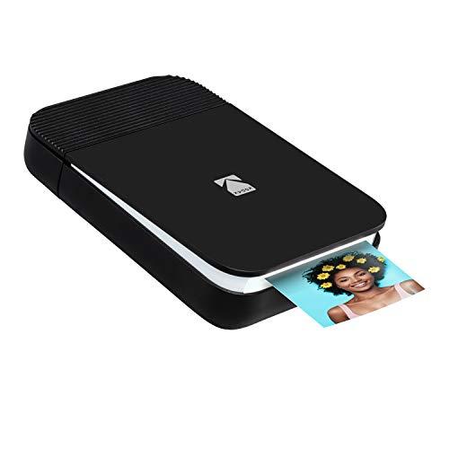 Kodak Smile Fotodrucker für Smartphone (IOS & Android) - Tintenloser Sofortdrucker, Bluetooth, 5 x 7,6 cm Ausdrucke, Integrierter Akku - Schwarz/Weiß
