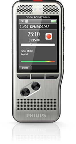Philips DPM6000 Digitales Diktiergerät Aufnahmegerät, Steuerung per Drucktasten, 2 Mikrofone für ausgez. Stereo-Aufnahmen, Farbdisplay, robustes Edelstahlgehäuse, inkl. Diktiersoftware SpeechExec 10, neue Version