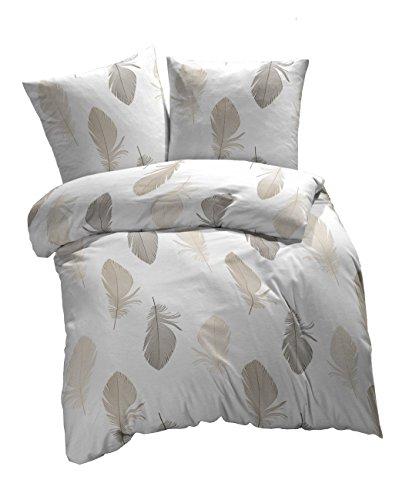 3 tlg. etérea Renforcé Baumwolle Bettwäsche Federn Weiß Braun Grau, 200x220 cm + 2 x 80x80 cm