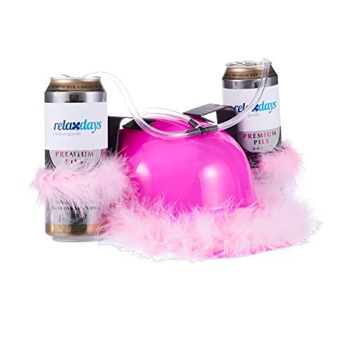 Relaxdays Bierhelm Pink, Helm mit Schlauch, für 2 Dosen Bier, Junggesellenabschied Frau, Party Trinkhelm, rosa Federn